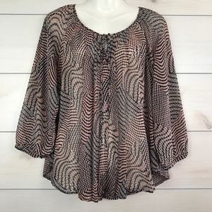 Bellatrix Geometric  Blouse Print Sheer Top Medium